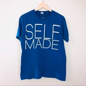 Tops - Self Made Blue Bold Graphic Text T Shirt